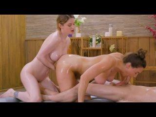 Зрелая массажистка трахнула парня и девочку, ЖМЖ sex group porn tit ass boob oil fuck milf girl mom wife hip new (Hot&Horny)