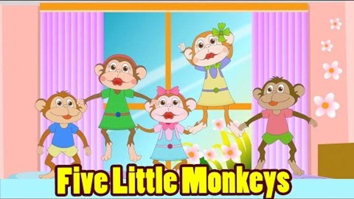 Five Little Monkeys Jumping On The Bed With Lyrics Kids Songs Nursery Rhymes By Eflashapps