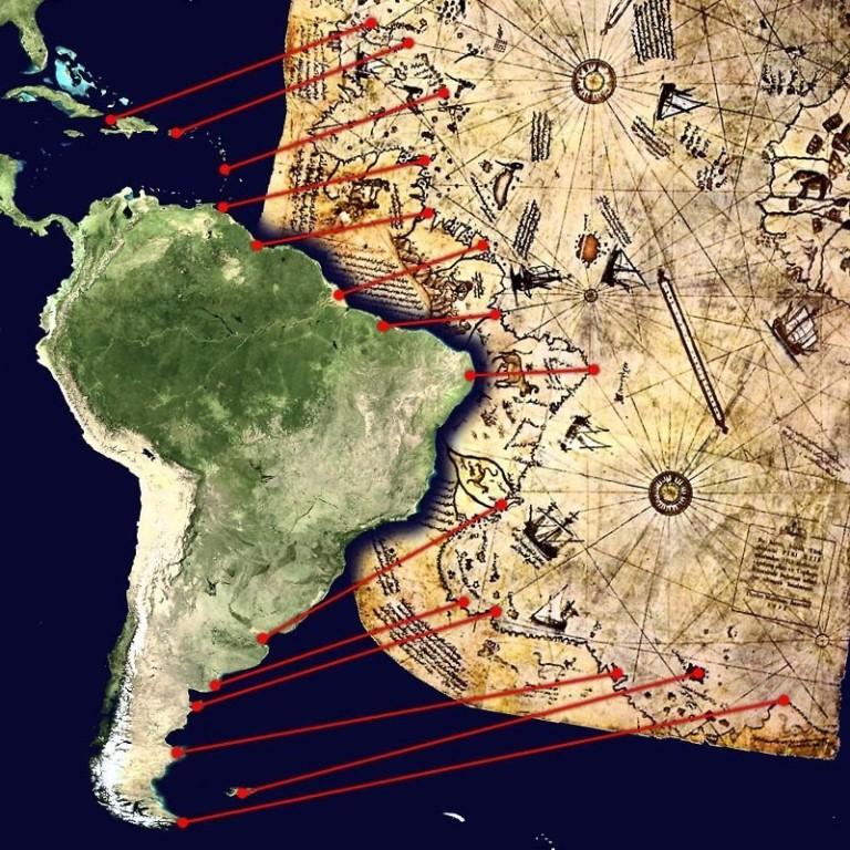 Карта Пири Рейса: сходство береговых линий предполагаемой Антарктики и Южноамериканского континентов.