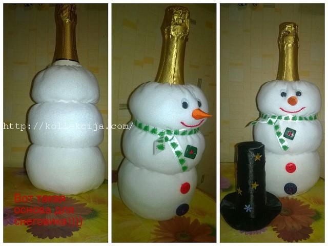 Как из пластиковой бутылки сделать снеговика
