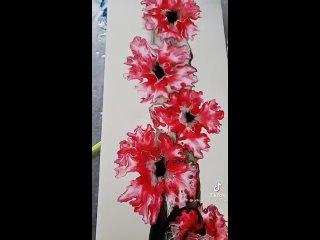 Красивая техника рисования - пышные цветы