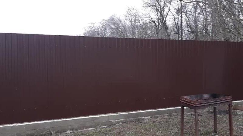 Необычный забор из газобетона и обожженной доски Сколь