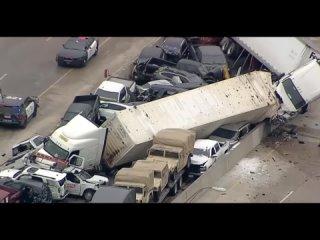 Ужасное столкновение 130 автомобилей в Техасе из - за гололёда
