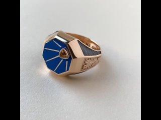 Мужское золотое кольцо с эмалью, цитрином, узором и гравировкой Иду на вы
