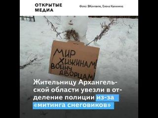 Жительницу Архангельской области увезли в полицию за «пикет снеговиков» около её дома