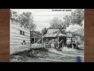 Как нарисовать старый заброшенный деревянный дом карандашом