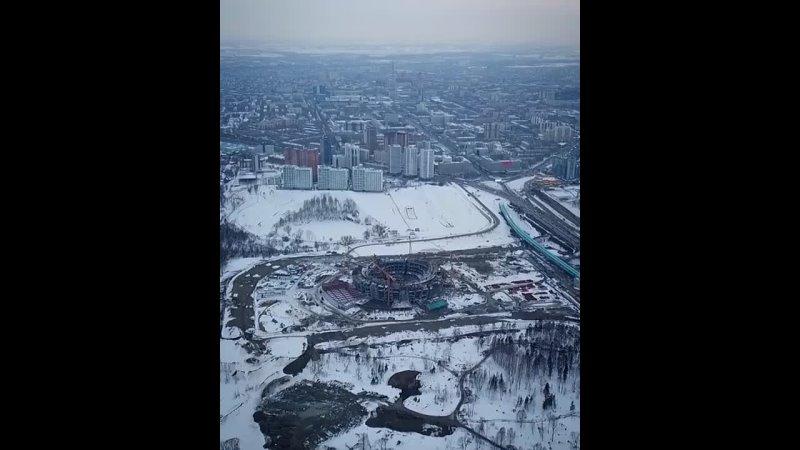 Строящийся ледовый дворец с высоты птичьего полета