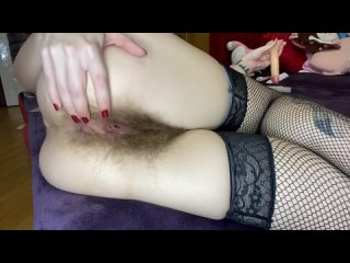 Super Hairy Girl With Big Clit Fucks Her Pussy With Dildo