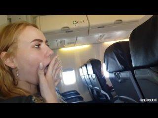 PUBLIC AIRPLANE Handjob and Blowjob - Bella Mur