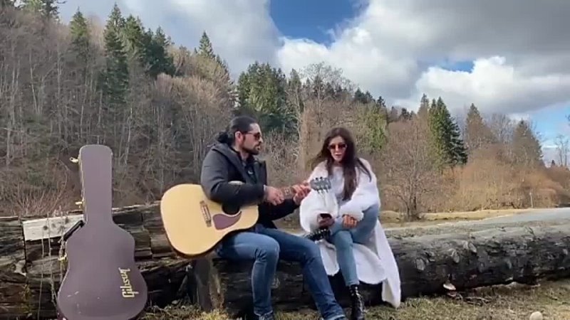 This is why we always travel with the guitar perfect surroundings at the mountain in Rasnov Transylvania, the river, forest, and