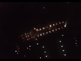 ночной флешмоб машины в форме ракеты