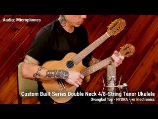 Custom Built Double Neck 4 8-String Tenor Ukulele by Ortega Guitars - Ovangkol Top - HYDRA