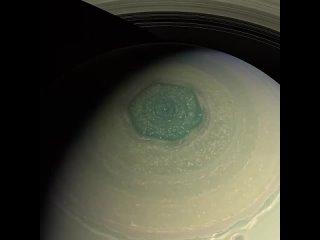 Гексагональный узор облаков на северном полюсе Сатурна. Снимок с космического корабля Кассини, НАСА,