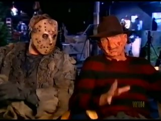 Freddy Krueger and Jason Voorhees are best friends on the set of Freddy vs. Jason, 2002 _
