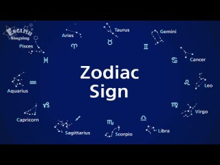 Kids vocabulary - 12 Zodiac signs - star signs - English educational video