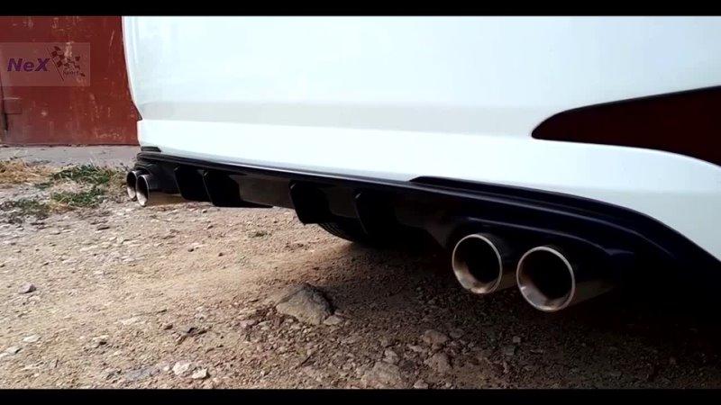 NEX® Hyundai Solaris Restyle ЭКСКЛЮЗИВ Глушитель раздвоенный 4 насадки Ø76 мм Вид звук Уникум