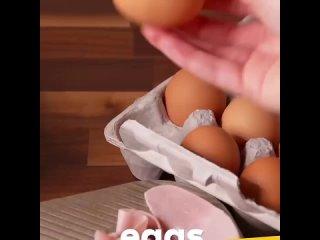 Запечённые яйца в чашах из ветчины🥚🥚  #завтрак #перекус #яица #ветчина #сыр