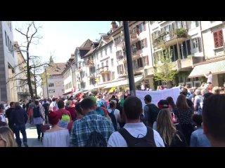 Швейцария, 25 апреля 2021 г., протест против коробесия