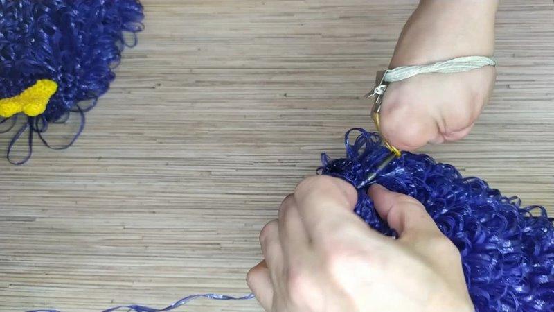 Видеоурок вязания крючком Галчонка Из полипропиленовой нити