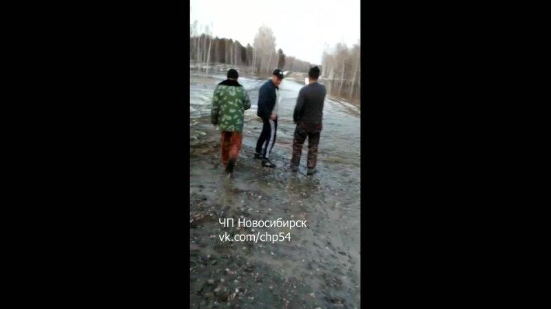 Размытие и затопление трассы между Садовкой и Заливино. Кыштовский район