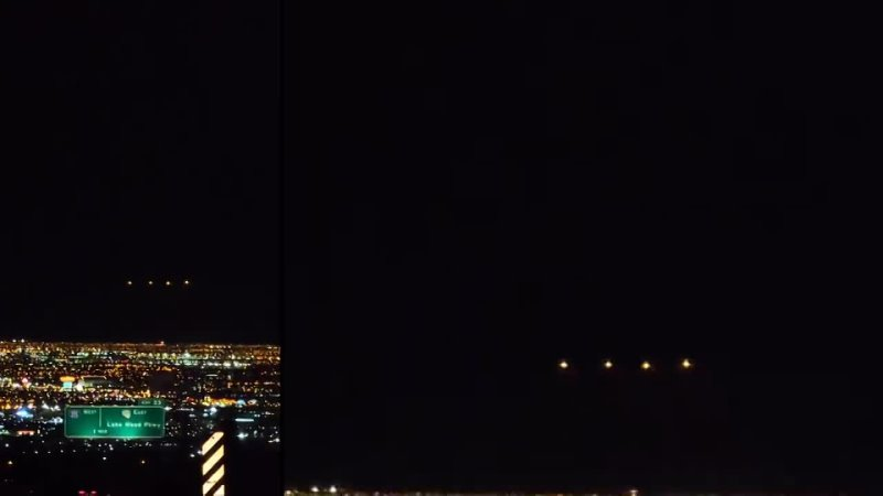 Many bright UFOs were spotted over the city in central Las Vegas