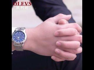 Мужские кварцевые часы olevs спортивные с секундомером датой стальным кольцом bayan kol saati