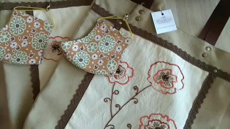 Сумки шопперы с ручной вышивкой тканевая маска в подарок 😷🎁
