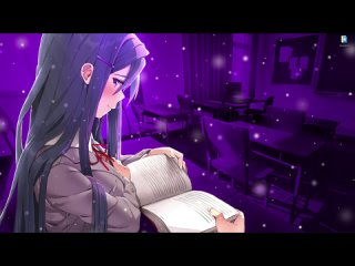 Юри читает книгу в классе из Doki Doki Literature Club - живые обои для Wallpaper Engine