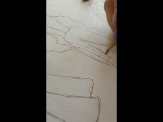 """Увлекательнейший процесс создания эскизов! За работой наша воспитанница Александра Ференец.Коллекция """"Киборг Sity"""""""
