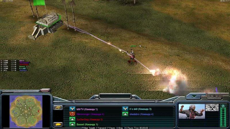 Basset Basset и Bl9rTV в масштабном 2х2х2 матче в Command and Conquer Generals Zero Hour