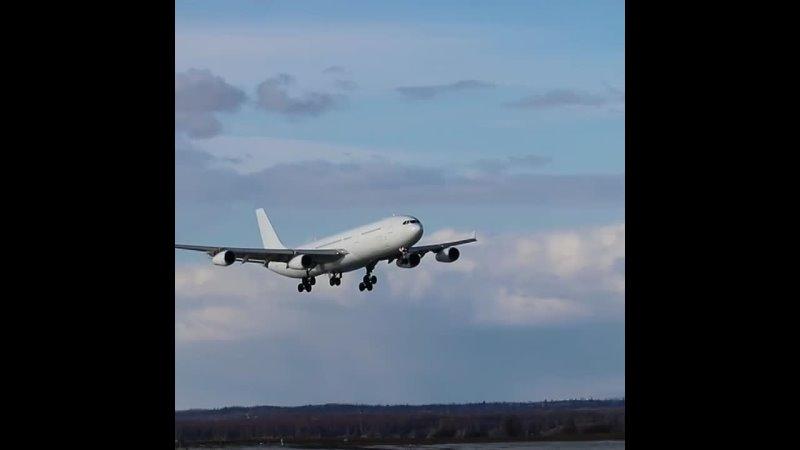 Конспирация наше всё Посадка Airbus A340 313X авиакомпании HiFly Malta 🇲🇹 в аэропорту Анкориджа