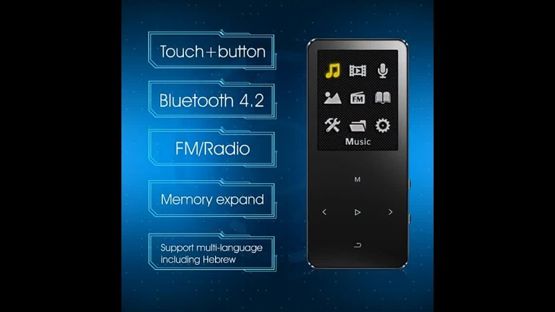 IQQ New Version X2 Bluetooth MP3 Music Player with Touch Screen and Built in 16GB HiFi Portable Walkman with Radio FM Record