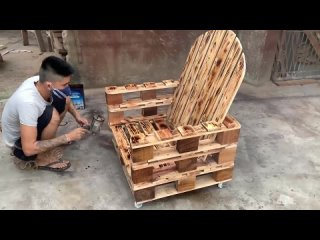 Ideas Woodworking Cheap From Pallet - Make a Simple Outdoor Chair From Old Palle