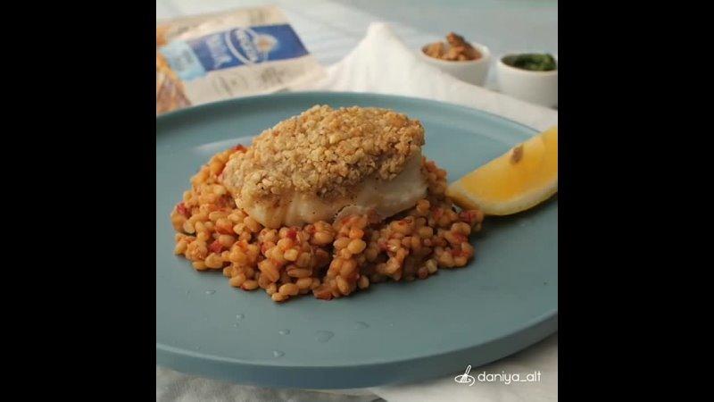 Запеченная треска в панировке из грецких орехов и пармезана Рыбу можете заменить на свое усмотрение Я подала рыбу с гарниром и