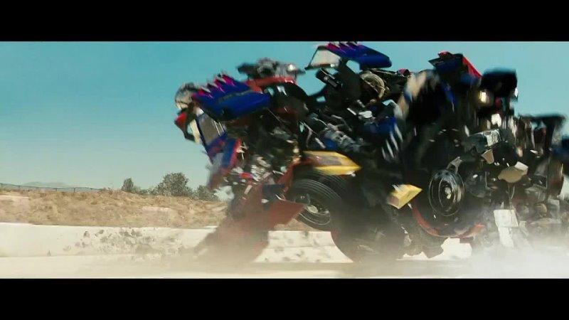 Оптимус прайм битва на трассе против десептикона Трансформеры отрывок из фильма