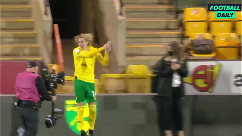 Todd Cantwell interrupting Emi Buendias post-match interview to soak him after Norwich were promoted back to the Premier League