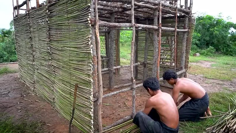 Lives In Forest 130Days To Building The Most Creatively Mud Villa And Water Slid
