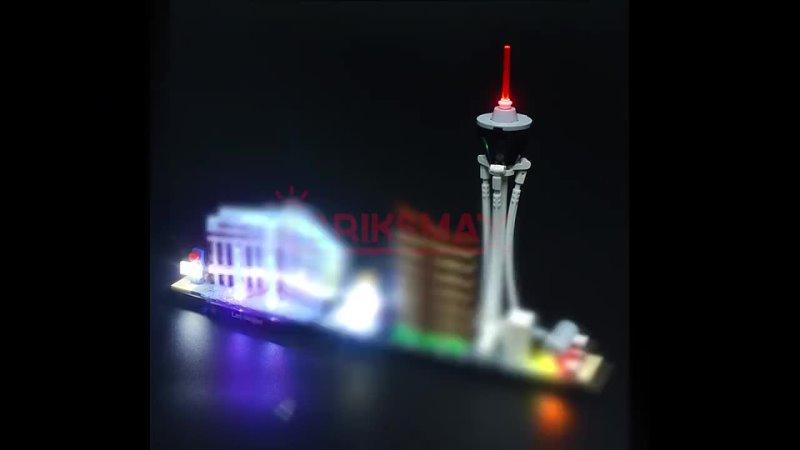 Светодиодный светильник briksmax набор для сборки архитектурных блоков в стиле лас вегаса совместимых с 21047 модель не