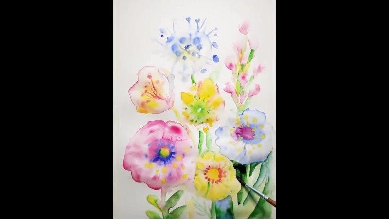 МК Во саду ли в огороде Цветы акварель Короткова