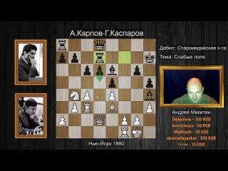 А.Карпов-Г.Каспаров. Невероятный ЗЕВОК чемпиона мира в Староиндийке! 7 партия матча в Нью-Йорке.