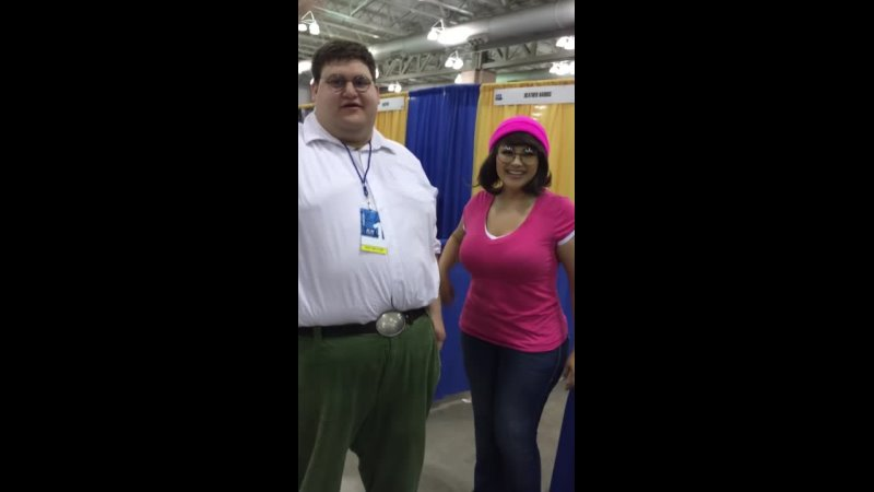 Real Life Peter Griffin and Meg (Ivy Doomkitty) at doACBC cosplay Family Guy in-character