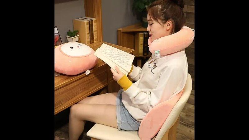 Новая плюшевая подушка в форме кошки или кролика милая креативная u образная подушка мягкие игрушки для офиса обеда сна