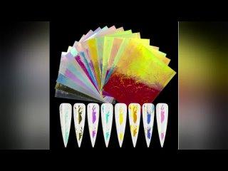 Наклейки для ногтей 16/8/6 цветов, голографические наклейки для ногтей с бабочками, звездами, lazer, лента из фольги,