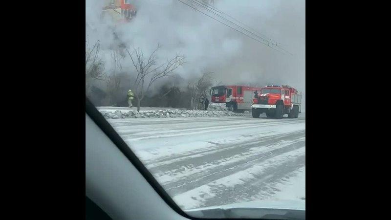 Крупный пожар в Абакане вчера на Ул Крылова 2