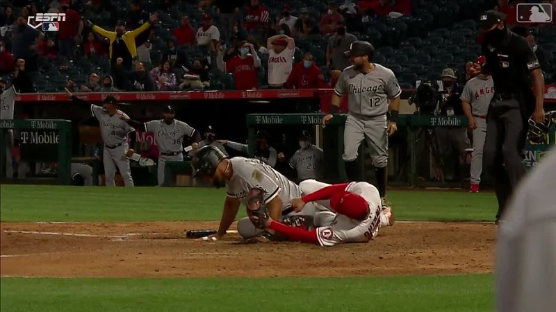 Shohei Ohtani was forced to leave the game after being slid into at home during this fluke play