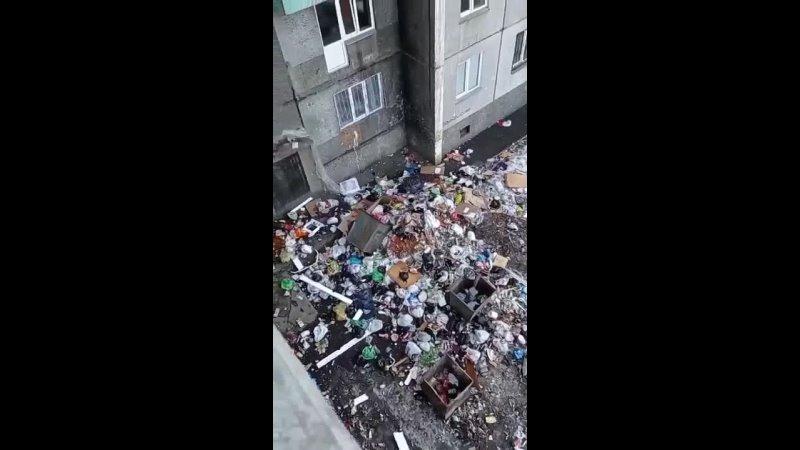 В Красноярске обитатели общаги оставляют пакеты с мусором прямо в подъезде или выбрасывают из окон