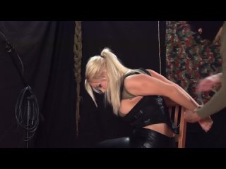 Busty blonde gagged and tied on the floor - domination fetish