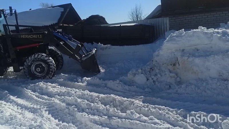 Чистим снег куном на ЮМЗ АКЛ