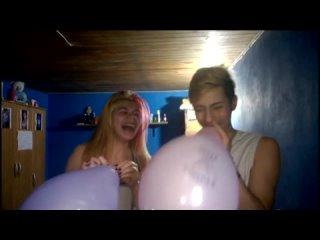Pink purple balloon challenge girl vs guy blow to pop