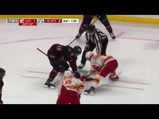 Никита Зайцев забросил шайбу в пустые ворота в матче Calgary Flames vs Ottawa Senators